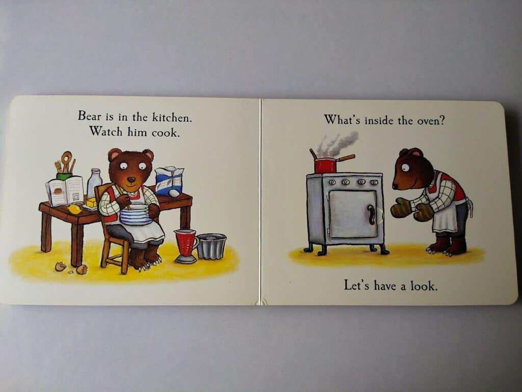 Bear cooking his birthday cake